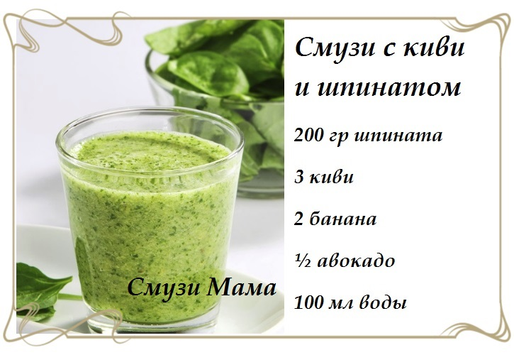 Смузи со шпинатом и киви фото и рецепт