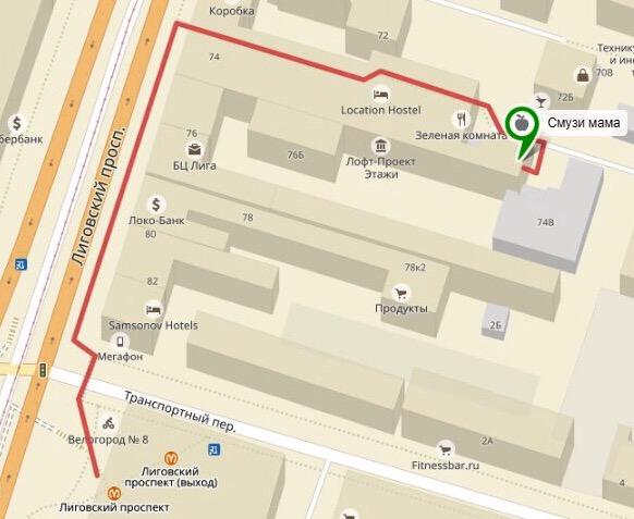 Смузи Мама в Санкт-Петербурге карта маршрут #смузимама #smothie